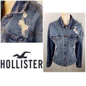 Hollister Distressed Denim Jacket Large